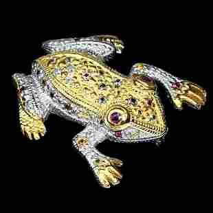Natural Sapphire & Rhodolite Garnet Frog Brooch
