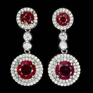 Natural Round Pigeon Blood Red Ruby Earrings