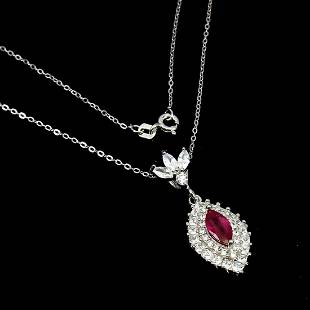 Natural Marquise Red Ruby 10x5 MM Pendant