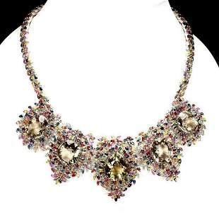 Natural Smoky Quartz Ruby & Sapphire Necklace