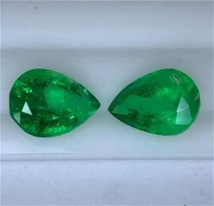 Natural Vivid Green Colombian Emerald Pair 11.09 Ct