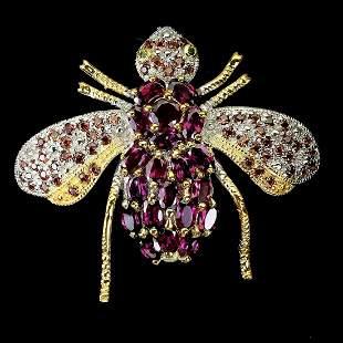Natural Rhodolite Garnet Sapphire Bee Brooch