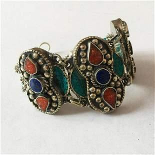 Tibet Hand Made Multi Stone Bracelet