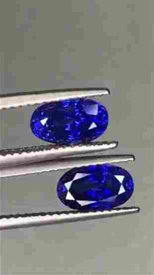 Natural Oval Royal Blue Sapphire Pair - VVS