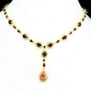 Natural Sunstone Pear 14x10 mm & Garnet Necklace