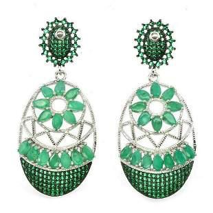 Natural Columbian Top Green Emerald Earrings