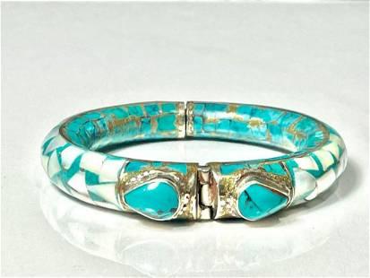 Natural Tibet Hand Made Turquoise & Sea Shell Bangle
