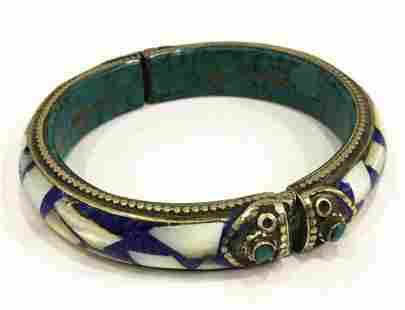 Natural Tibet Lapiz Lazuli Turquoise Sea Shell Bangle
