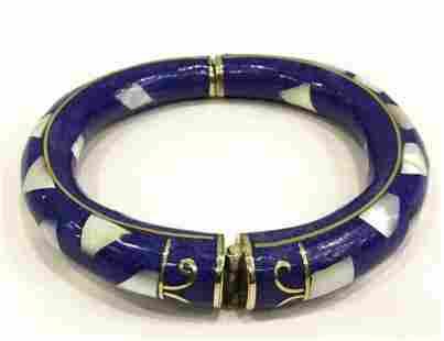 Natural Tibet Hand Made Lapiz Lazuli & Sea Shell Bangle