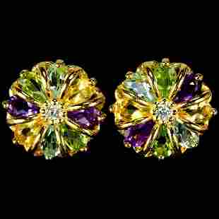 Natural AMETHYST TOPAZ CITRINE PERIDOT Earrings