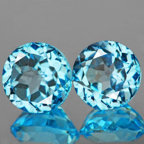 Natural Sky Blue Topaz Pair 10.00 mm  - Flawless