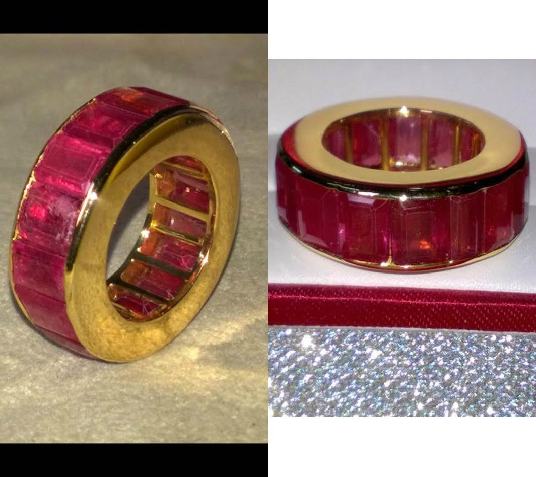 Natural Ruby 25.6 Cts & Solid Gold Eternity Band