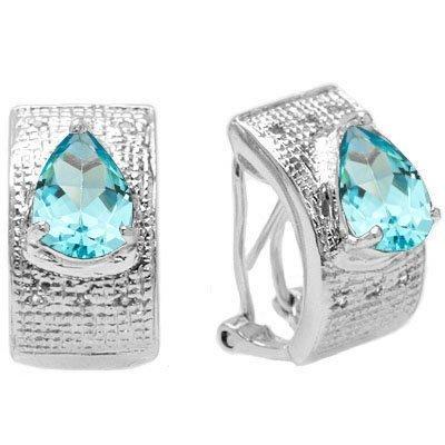 Natural Blue Topaz & Diamond Earrings