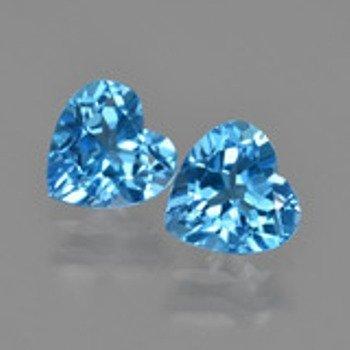 Natural Swiss Blue Topaz Heart Pair 7.495 carats - AAA