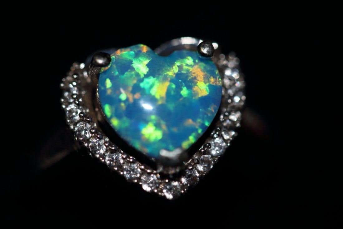 Stunning Natural Opal Heart Ring