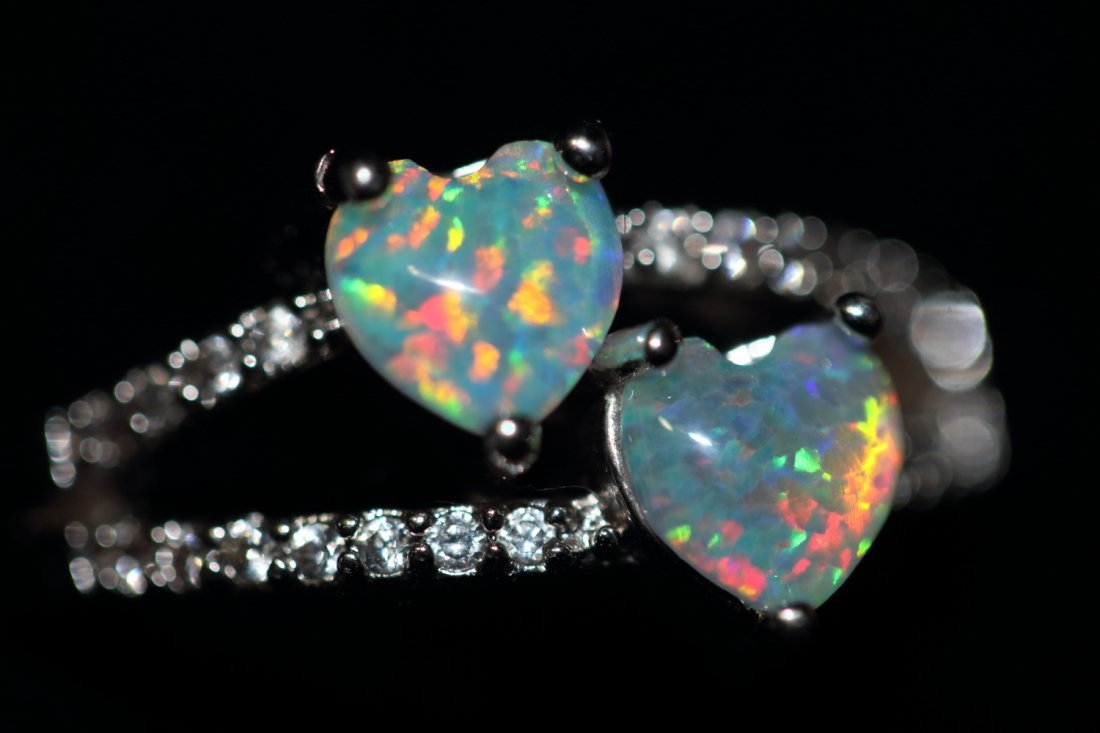Natural Double Heart Rainbow Color Opal Ring