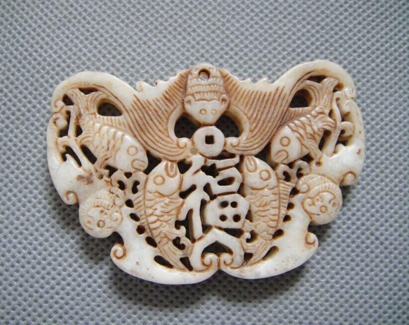 Old Jade Bat & Double Fish Pendant