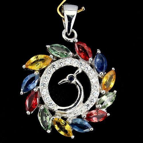 Natural Fancy Color Sapphire Pendant
