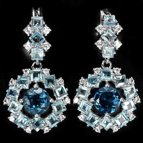 Natural Swiss & London Blue Topaz Earrings