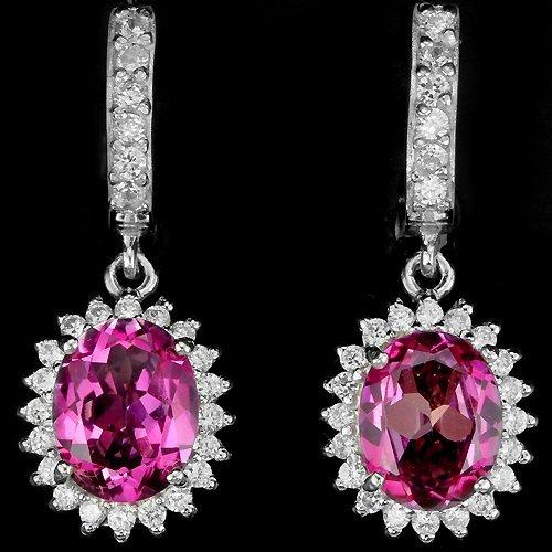 Natural Hot Pink Topaz Earrings