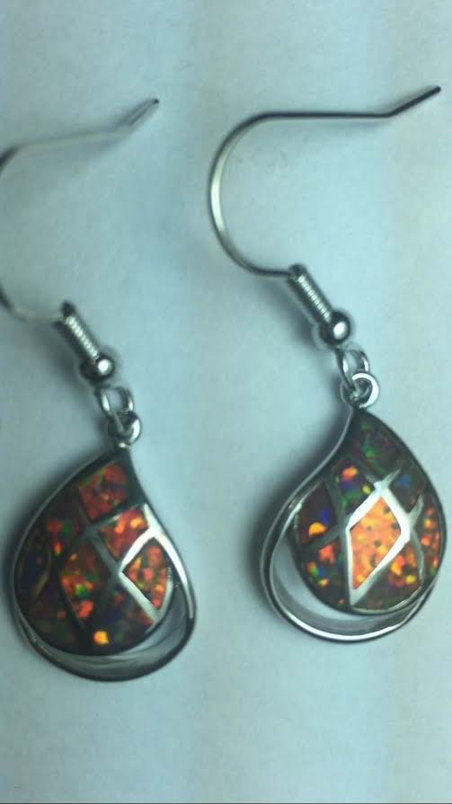 Natural Full Fire Ethopian Opal Earrings