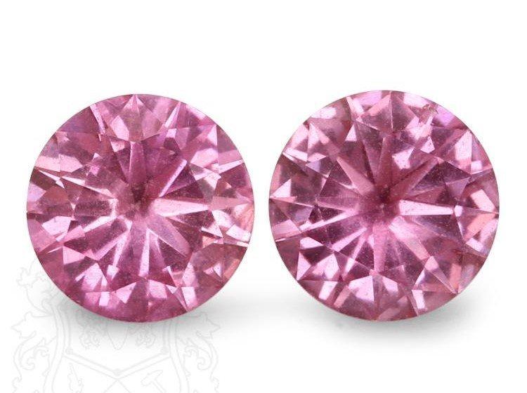 Natural Pink Round Sapphire Pair 2.08 Carats - VVS
