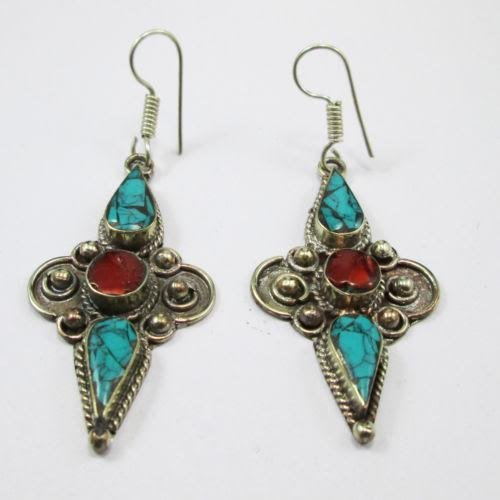 Hand Made Natural Turquoise & Coral Earrings