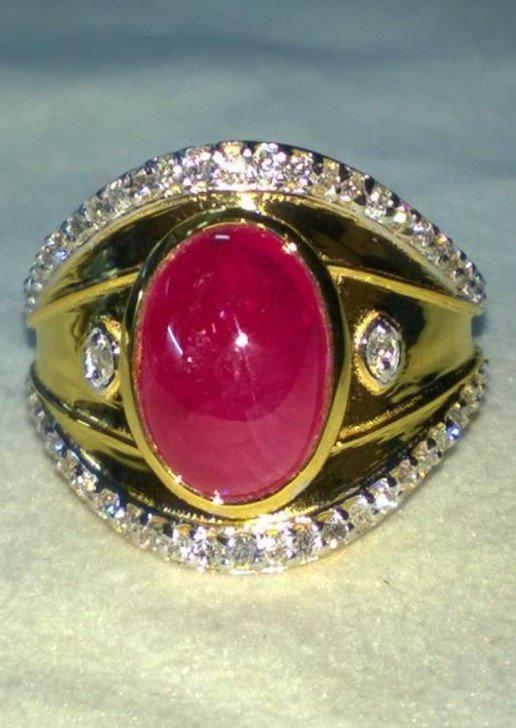 Natural Burma Ruby & Diamond Ring - GIA Certified
