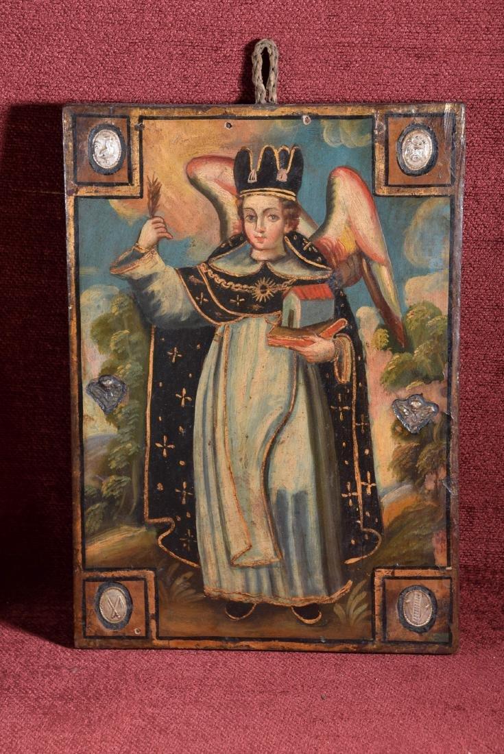 Antique Cuzco school religious oil on panel of Arcangel
