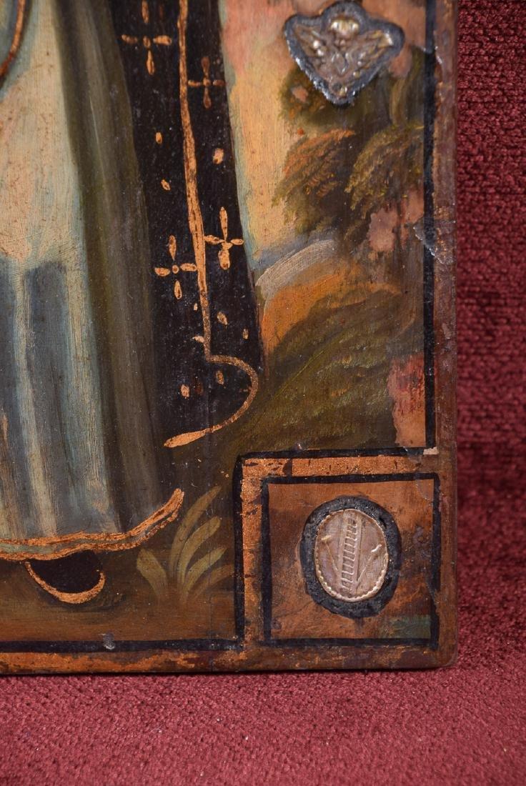 Antique Cuzco school religious oil on panel of Arcangel - 3