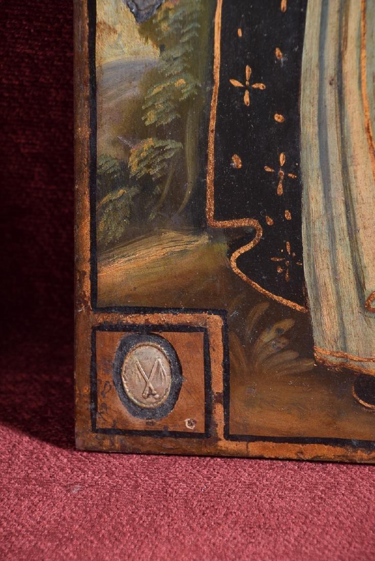 Antique Cuzco school religious oil on panel of Arcangel - 4