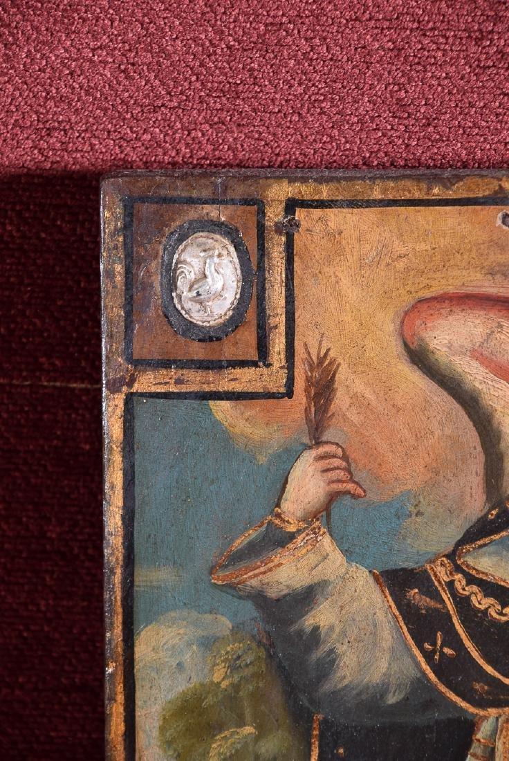 Antique Cuzco school religious oil on panel of Arcangel - 5