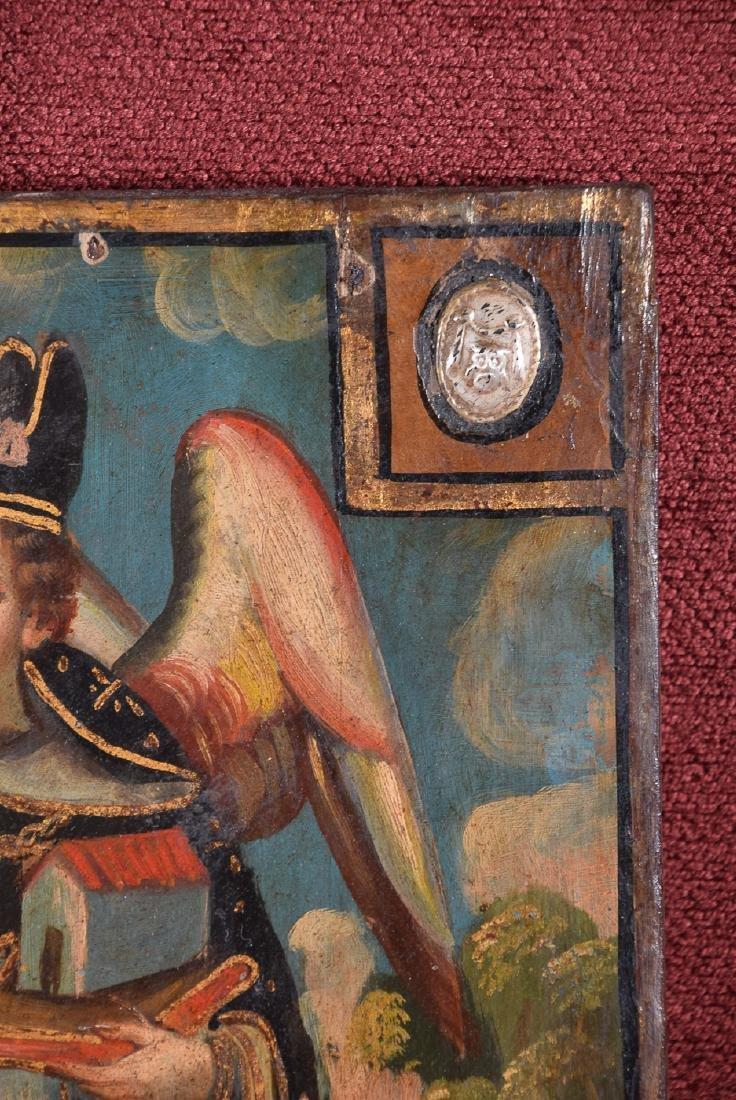 Antique Cuzco school religious oil on panel of Arcangel - 6