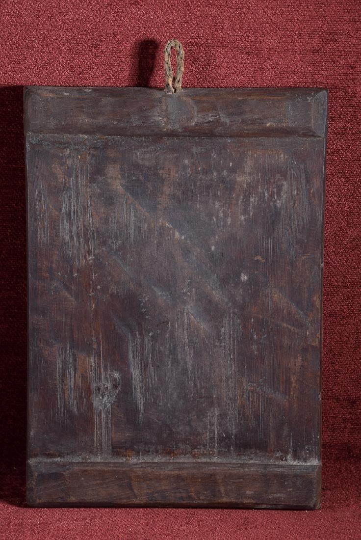 Antique Cuzco school religious oil on panel of Arcangel - 7