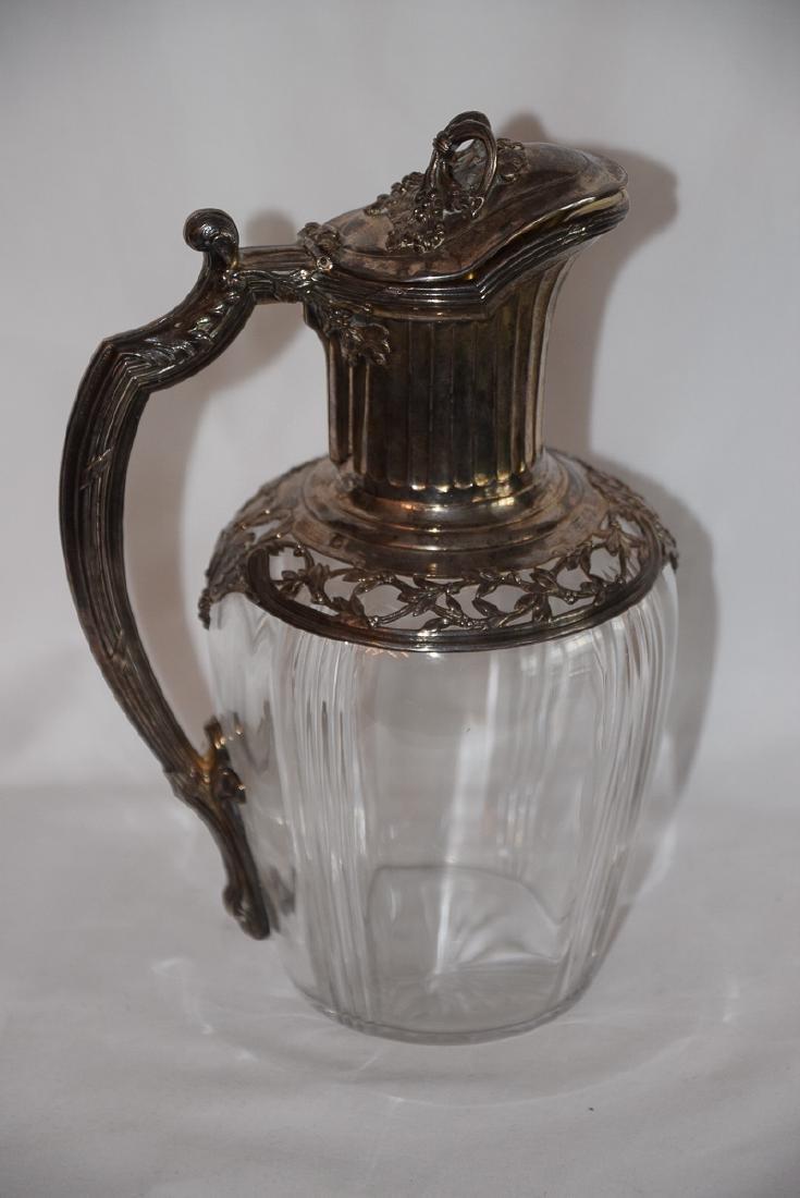 Vintage French Glass & Silver Carafe Jug XIX