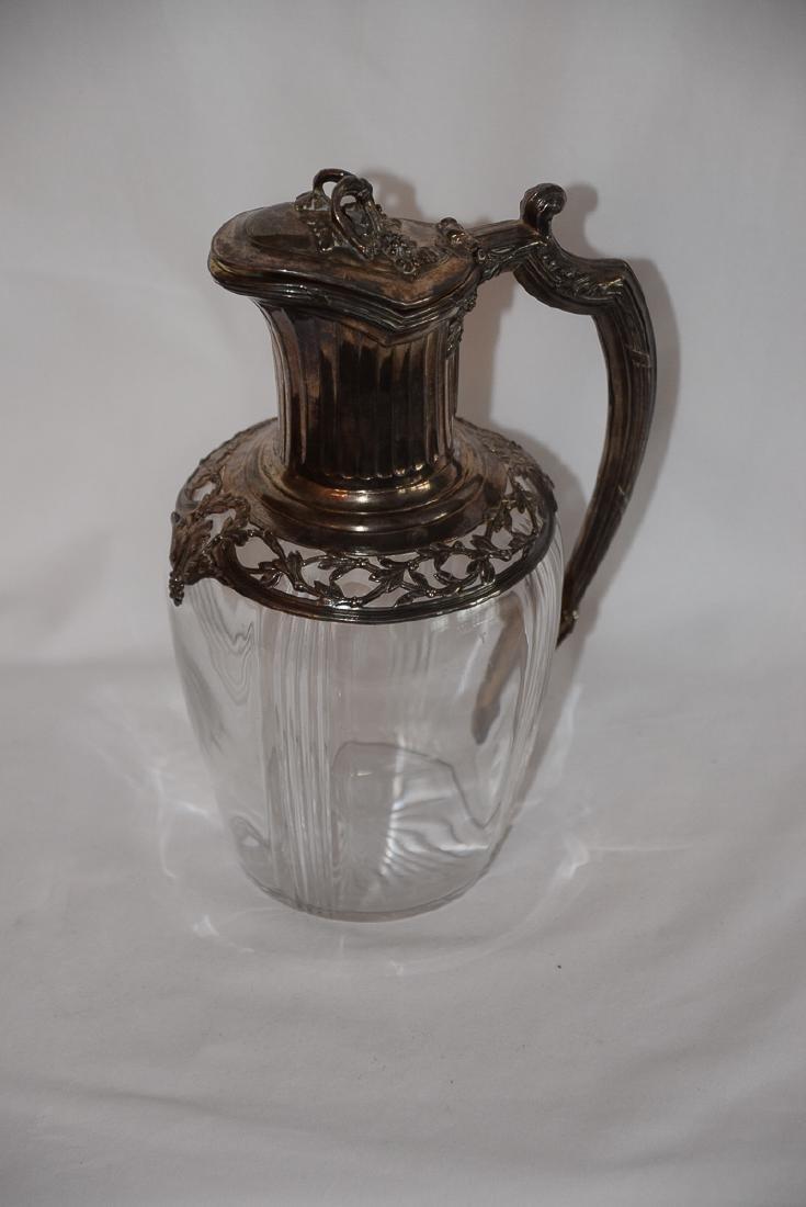 Vintage French Glass & Silver Carafe Jug XIX - 3