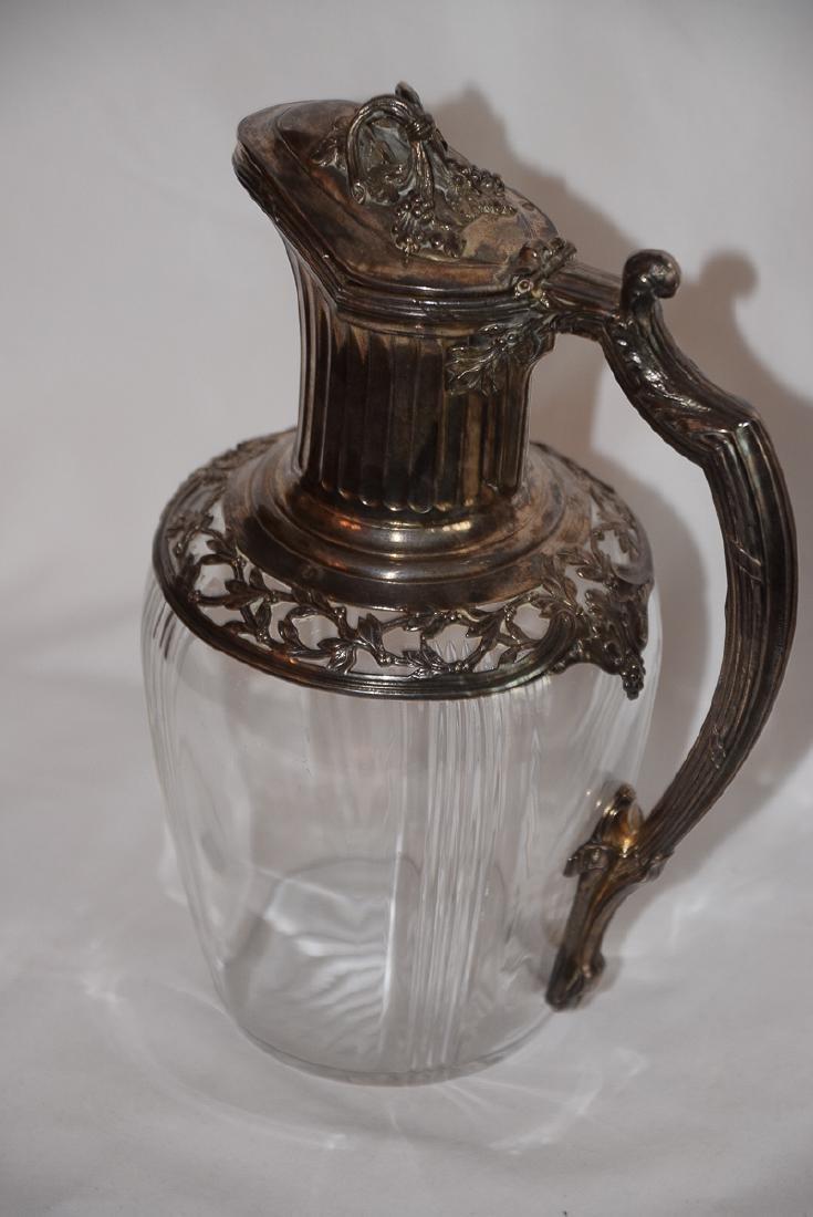 Vintage French Glass & Silver Carafe Jug XIX - 4