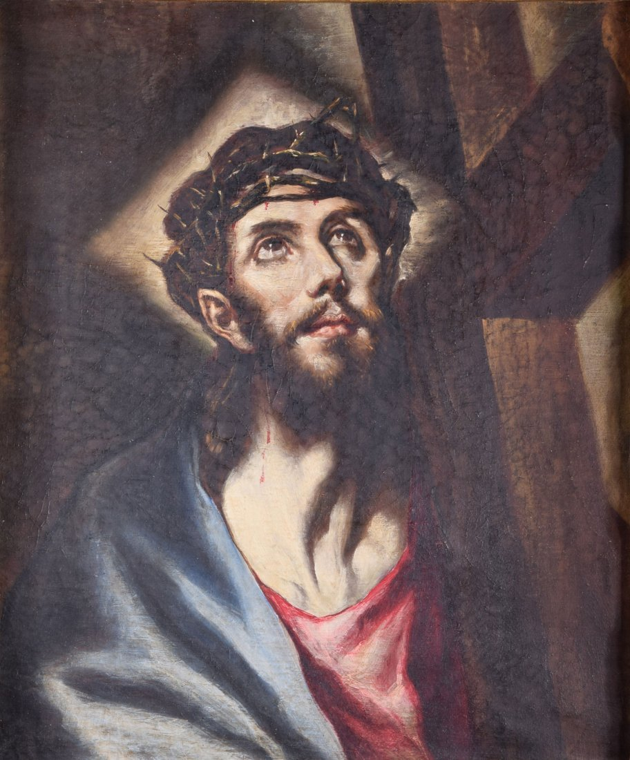 Attrib. Greco Jesus Carrying the Cross oil on canvas