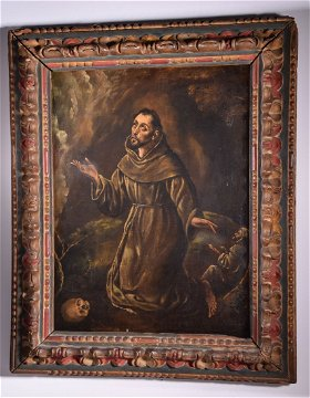 saint francis receiving stigmata oil on canvas. Black Bedroom Furniture Sets. Home Design Ideas