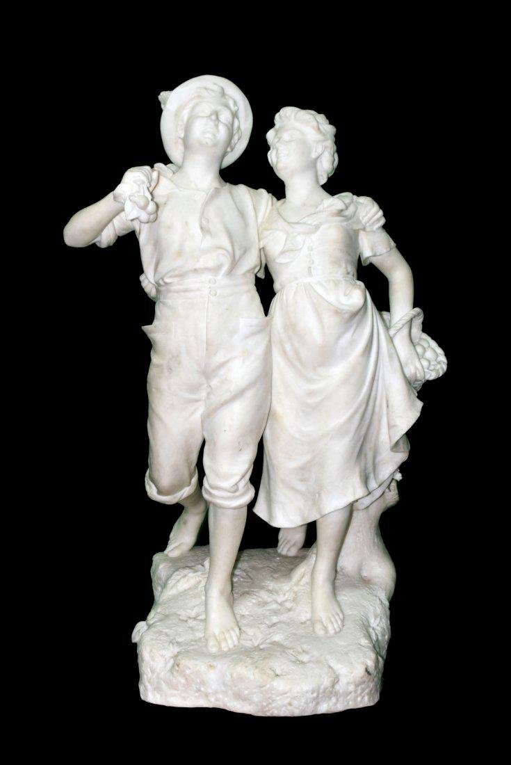 Marble sculpture signed Prof. TESTI – Couple Dancing