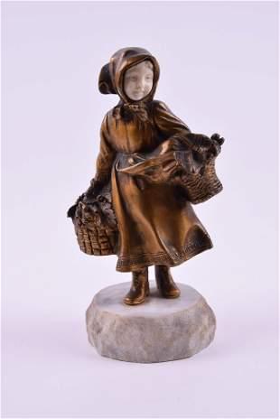 "Affortunato Gory Bronze Sculpture ""Petite Fille Aux"