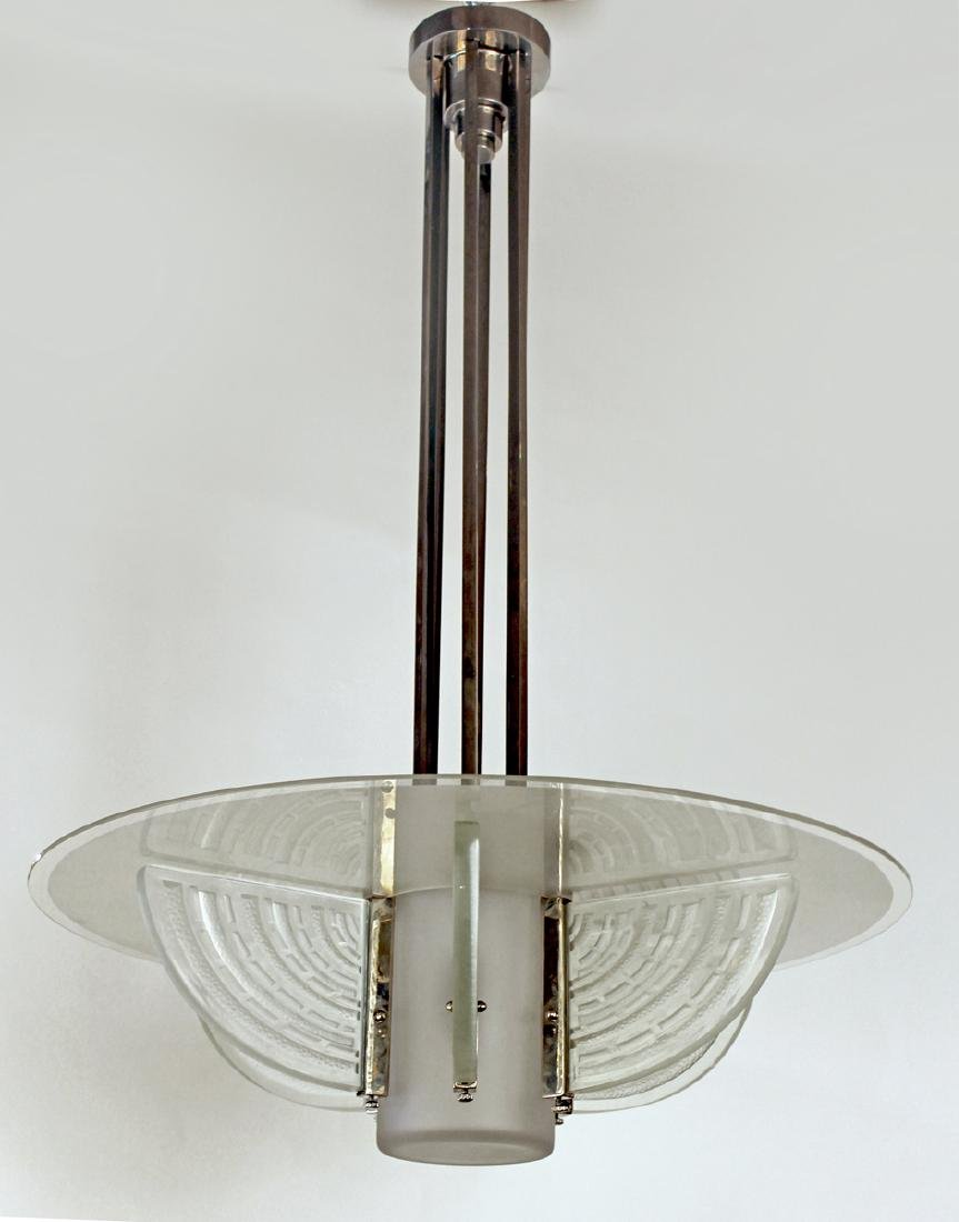 HV-FRANCE 1930 Glass and Chrome Chandelier
