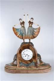 Dimitri Chiparus Bronze Sculpture Clock