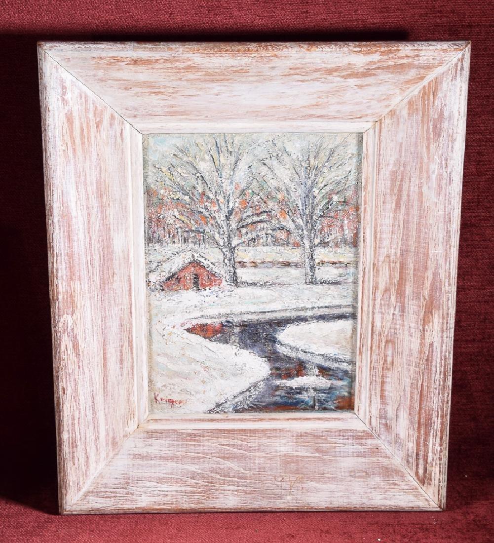 Rare vintage oil on panel of a winter landscape