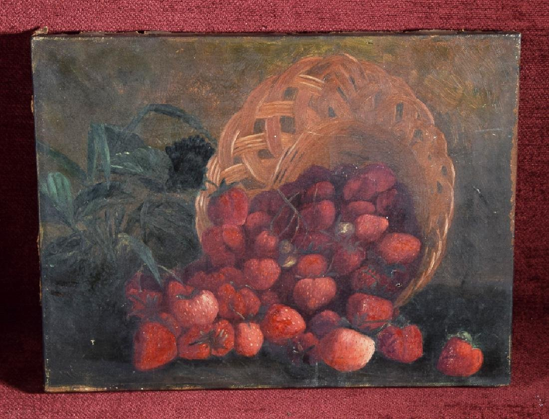 Vintage oil on canvas of a bunch of strawberries