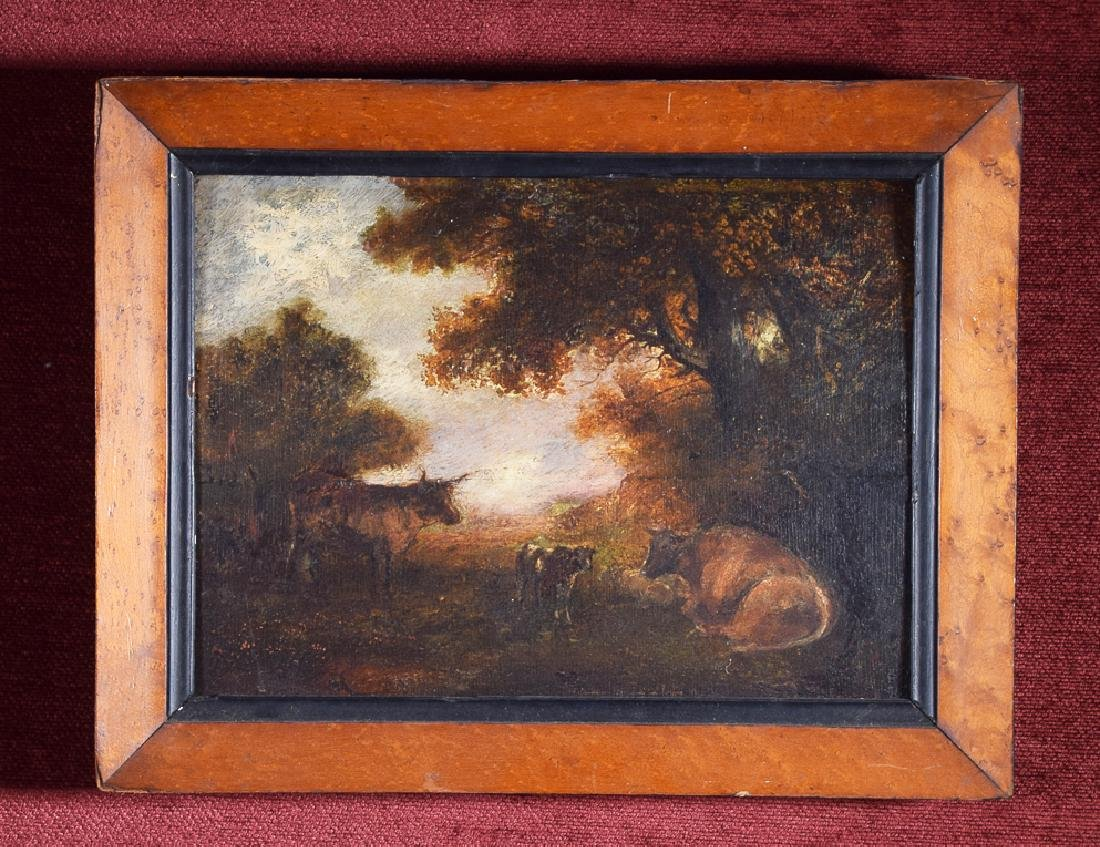 Vintage rare oil on panel of cattle