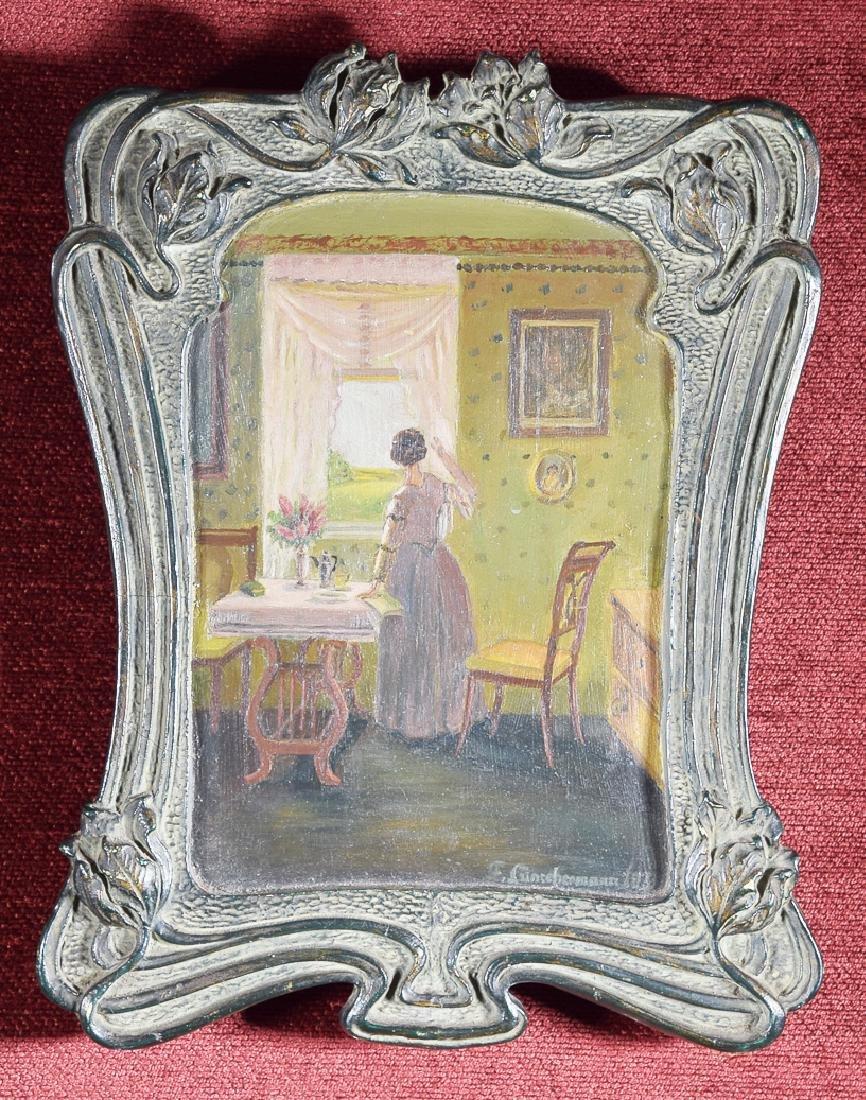 Vintage oil on panel illegible signature. 'F.