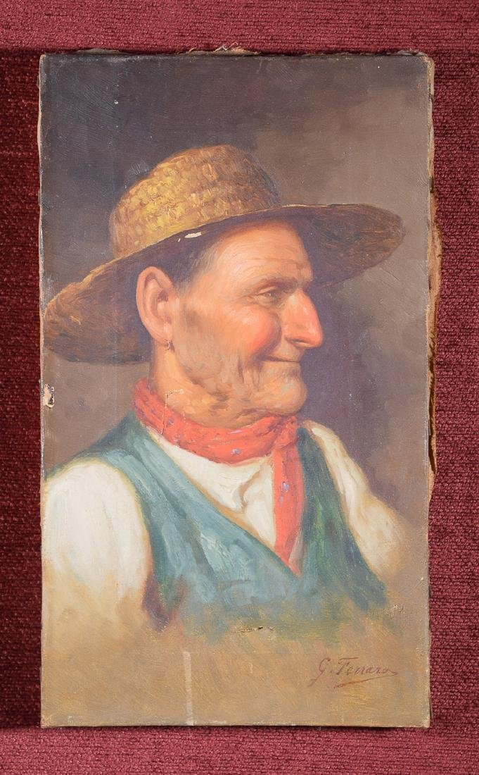 Signed G. Ferrara oil on canvas of farmer with earring