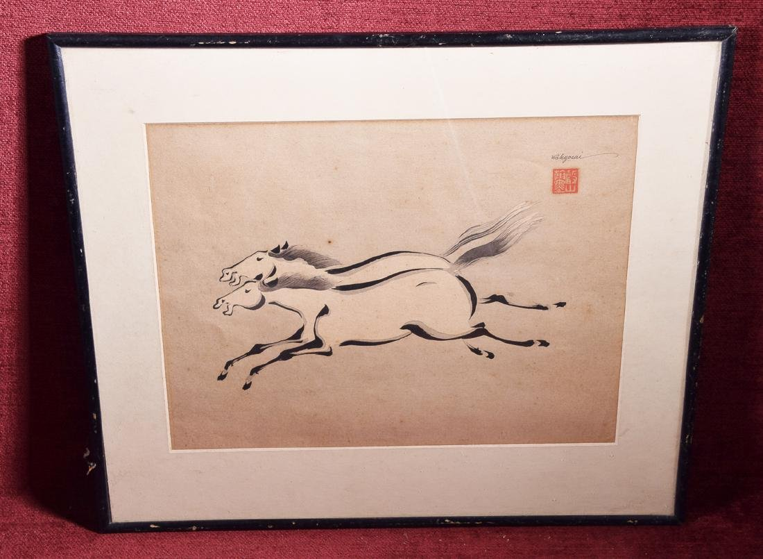 Wakyosai (20th c.) Japanese ink on paper two racing