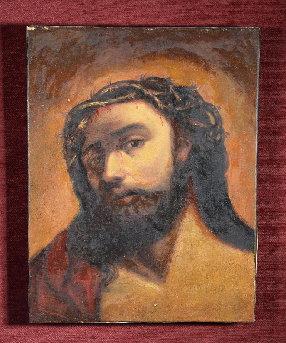 Antique Oil on canvas Jesus portrait